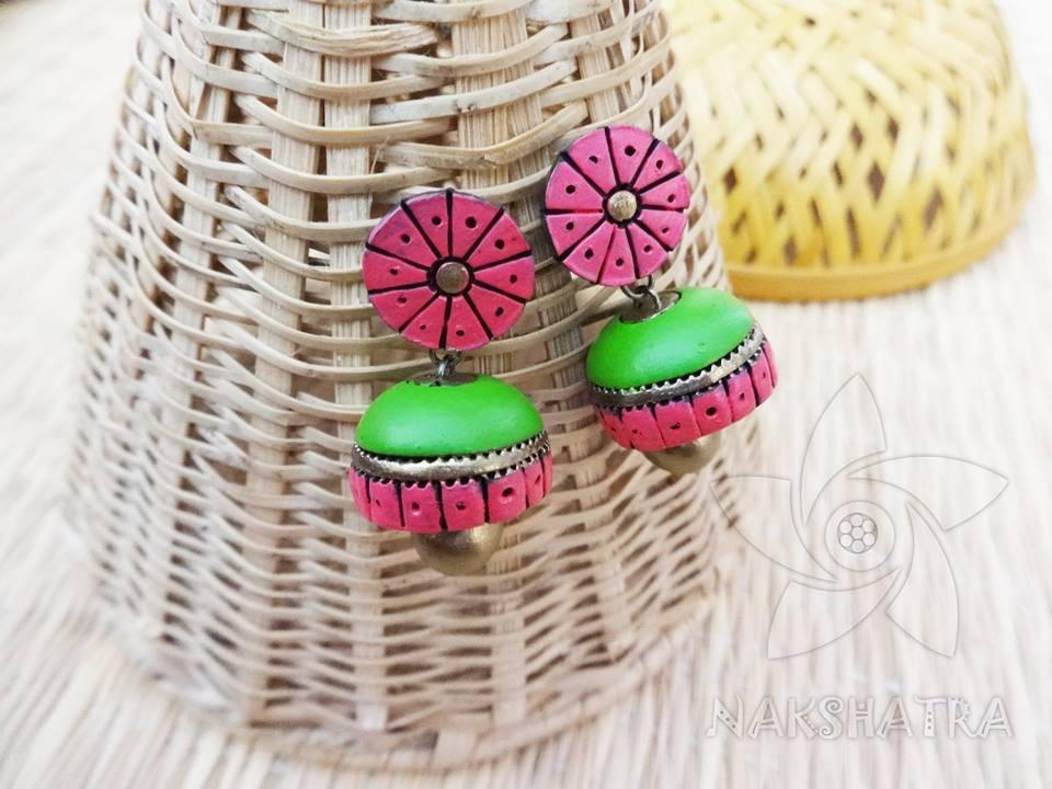 Pink And Green Colour Terracotta Earring