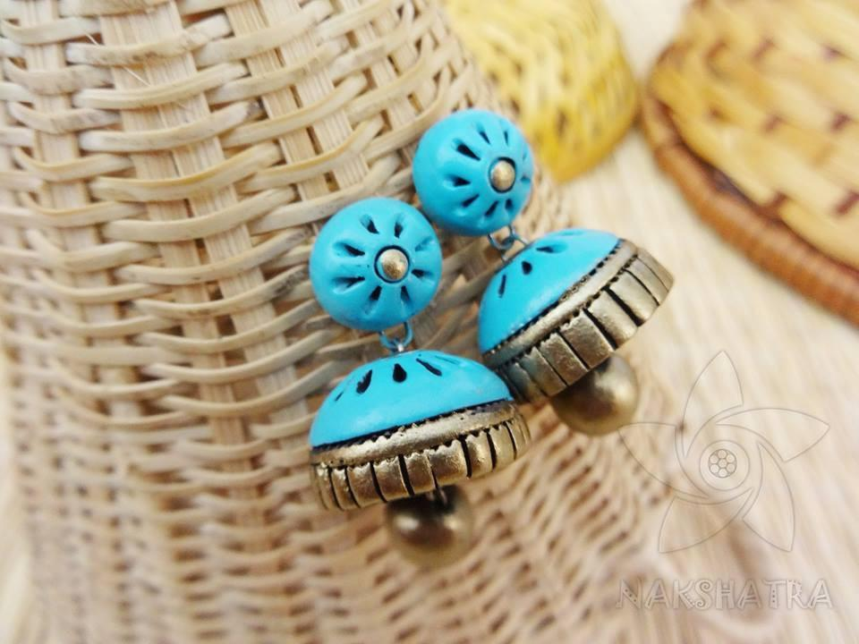 Turquoise Blue And Golden Colour Terracotta Earring
