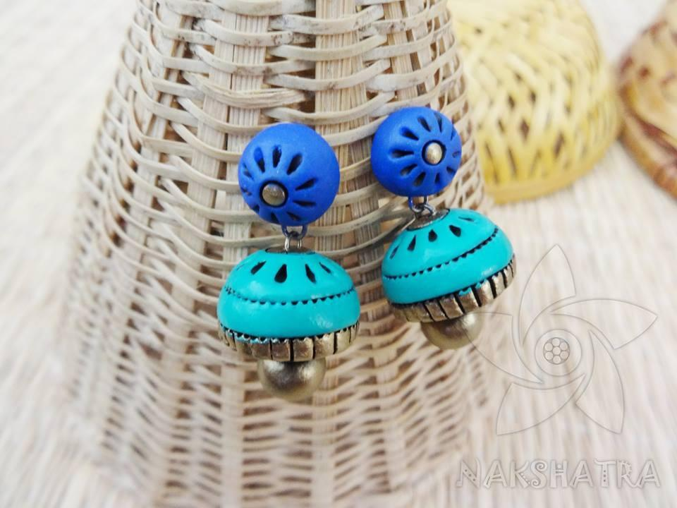 Blue And Turquoise Blue Colour Terracotta Earring