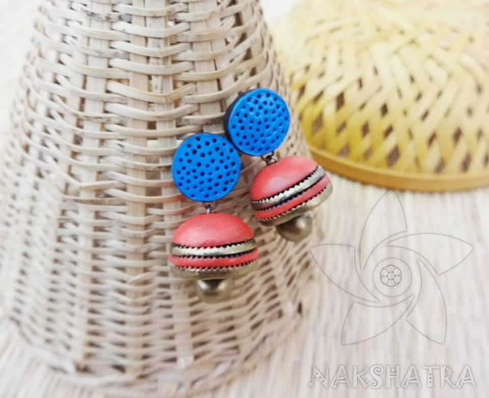 Blue And Red Colour Terracotta Earring
