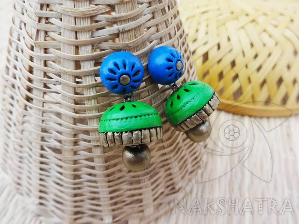 Blue And Green Colour Terracotta Earring