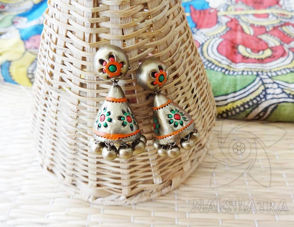 Gold And Red Colour Terracotta Earring