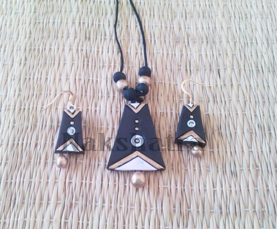 Black Colour Terracotta Necklace Set