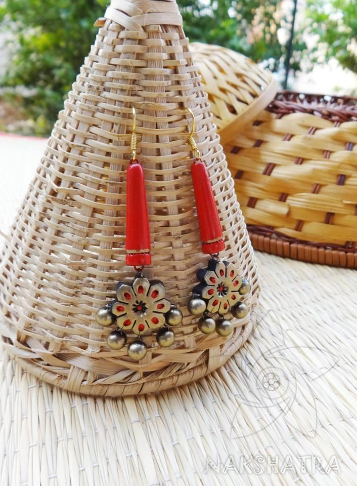 Red And Gold Colour Terracotta Earring