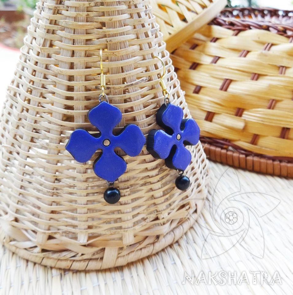 Blue And Black Colour Terracotta Earring
