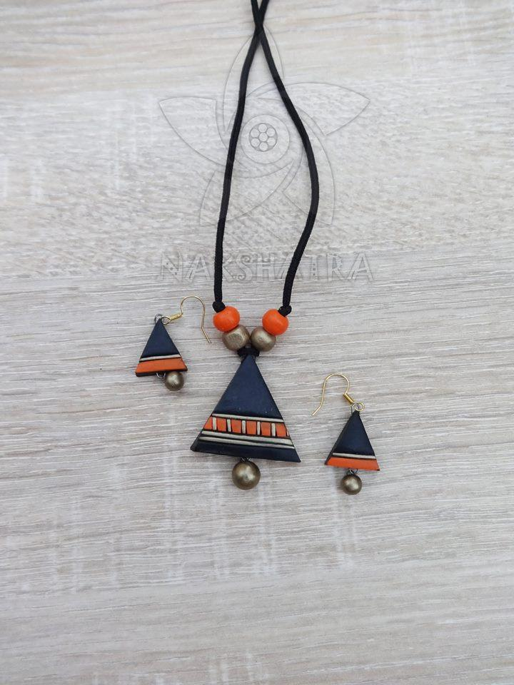 Black And Orange Colour Terracotta Necklace Set