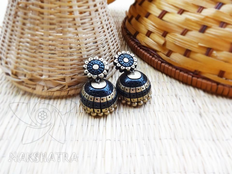 Gold And Black Colour Terracotta Earring
