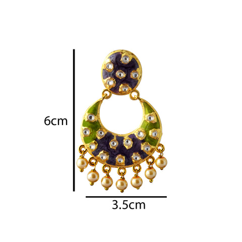 Voilet And Green Meenakari Dangler Earring With Kundan And Pearls