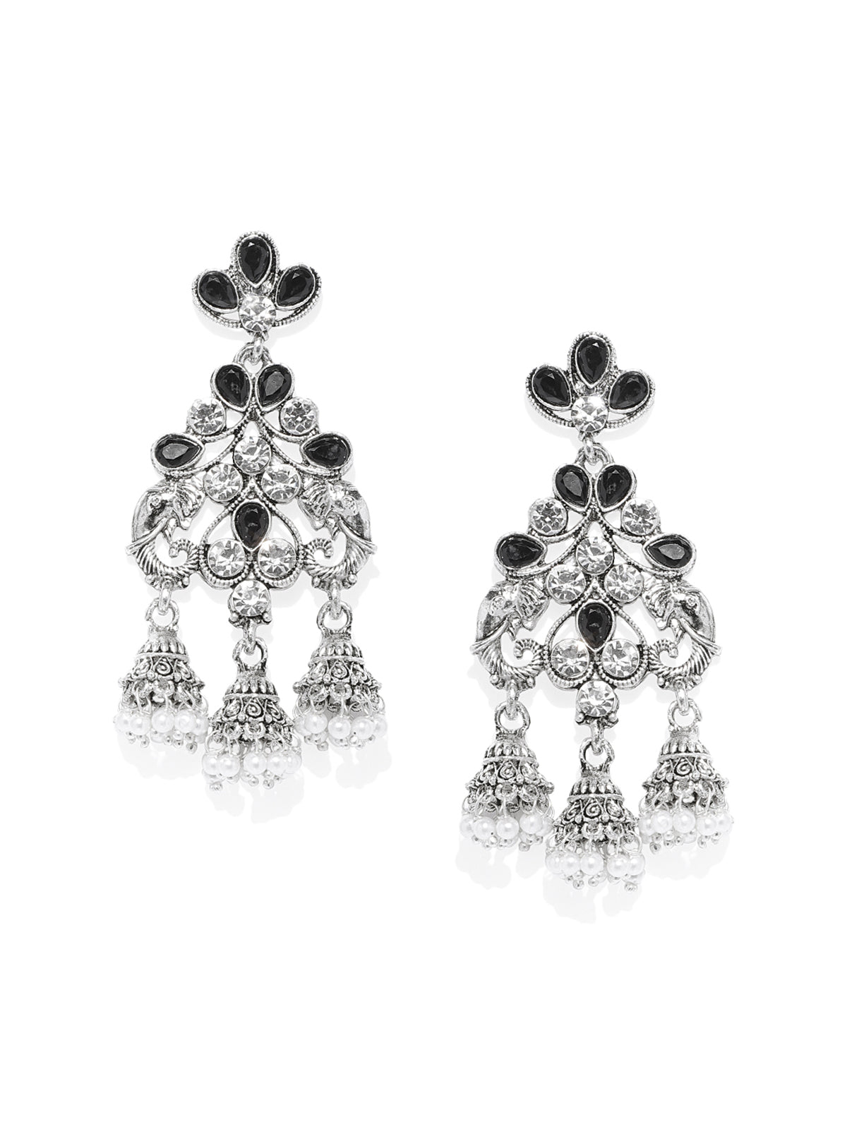 Zaveri Pearls Antique Silver Tone Dangling Jhumka Drops Earring