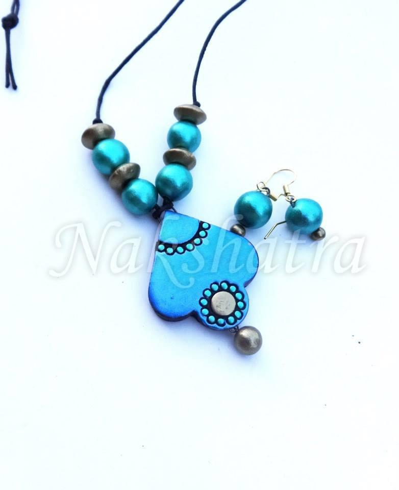 Turquoise Blue Colour Terracotta Necklace Set