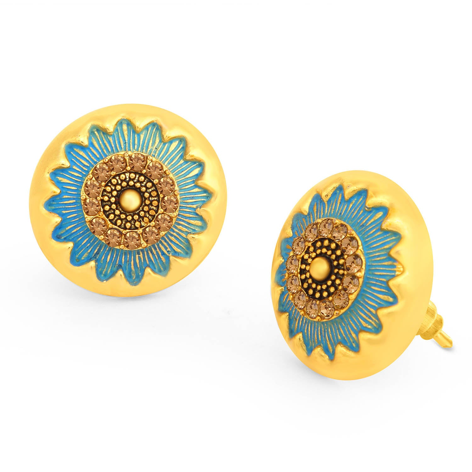 Sukkhi Sparkly LCT Stone Gold Plated Floral Blue Mint Meena Collection Stud Earring For Women-SUKKHI1-Earring