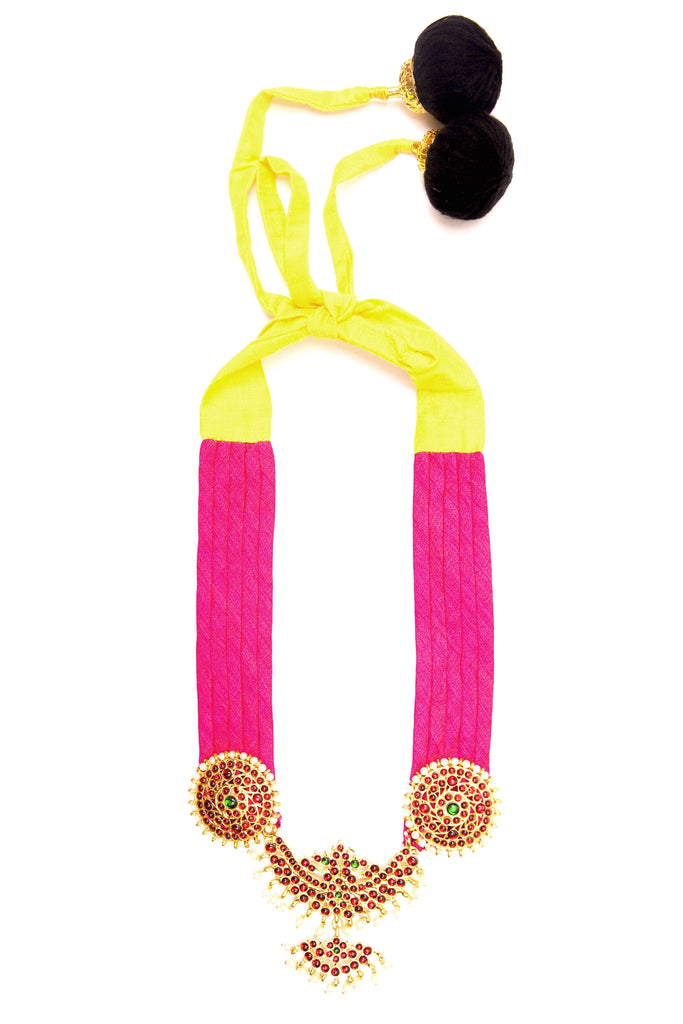Pink Color Half Shobha Contemporary Temple Necklace