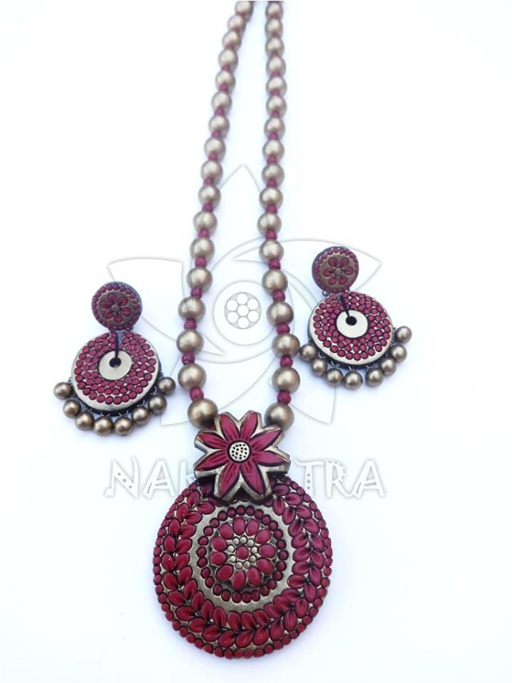 Red And Gold Color Terracotta Necklace Set