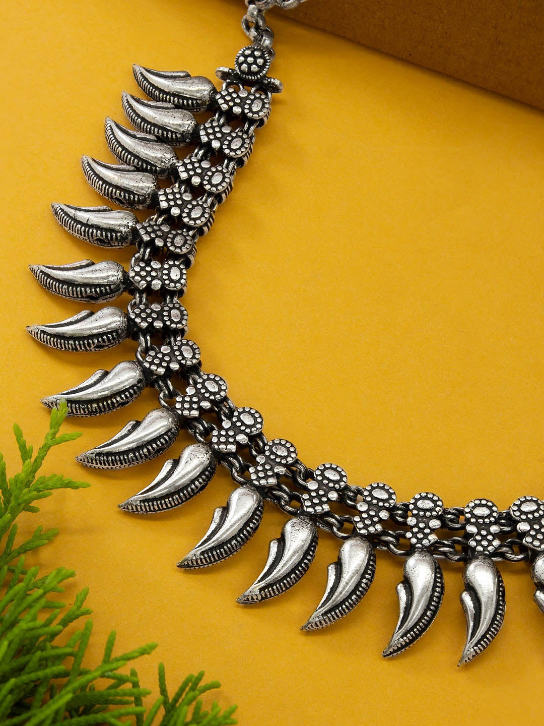 Silver Plated Spokes Design Choker Necklace By Jumkey Aykya-JUMKEY-AYKYA-Necklace
