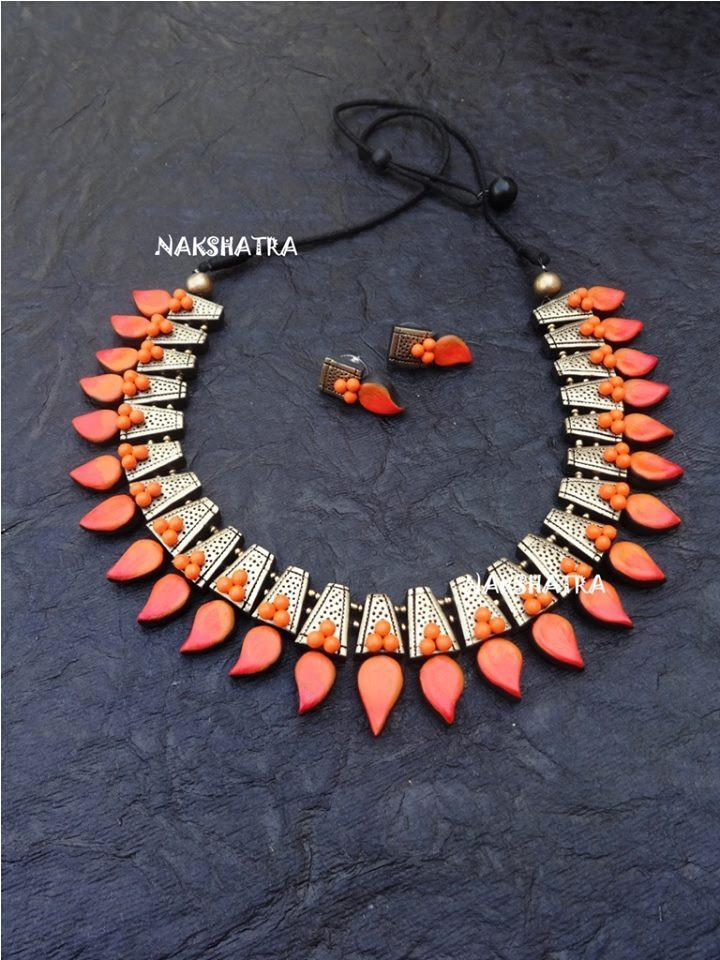 Orange And Gold Color Terracotta Necklace Set