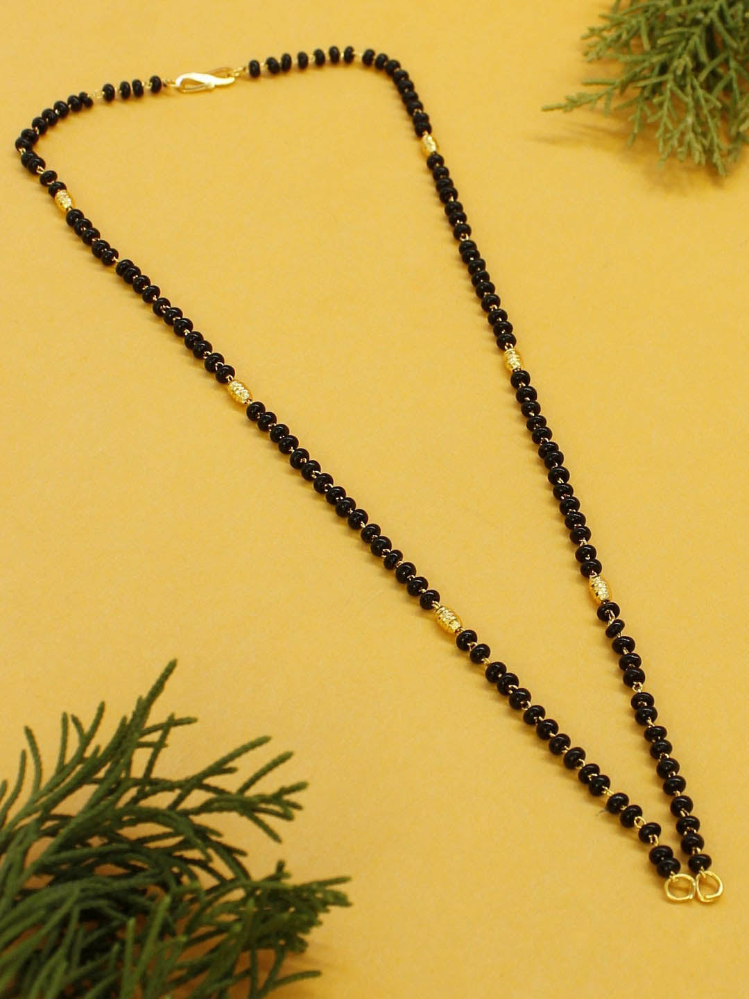 Avismaya Two Layered Gold Plated Black color Beads Long necklace chain-AVISMAYA-Mangalsutra