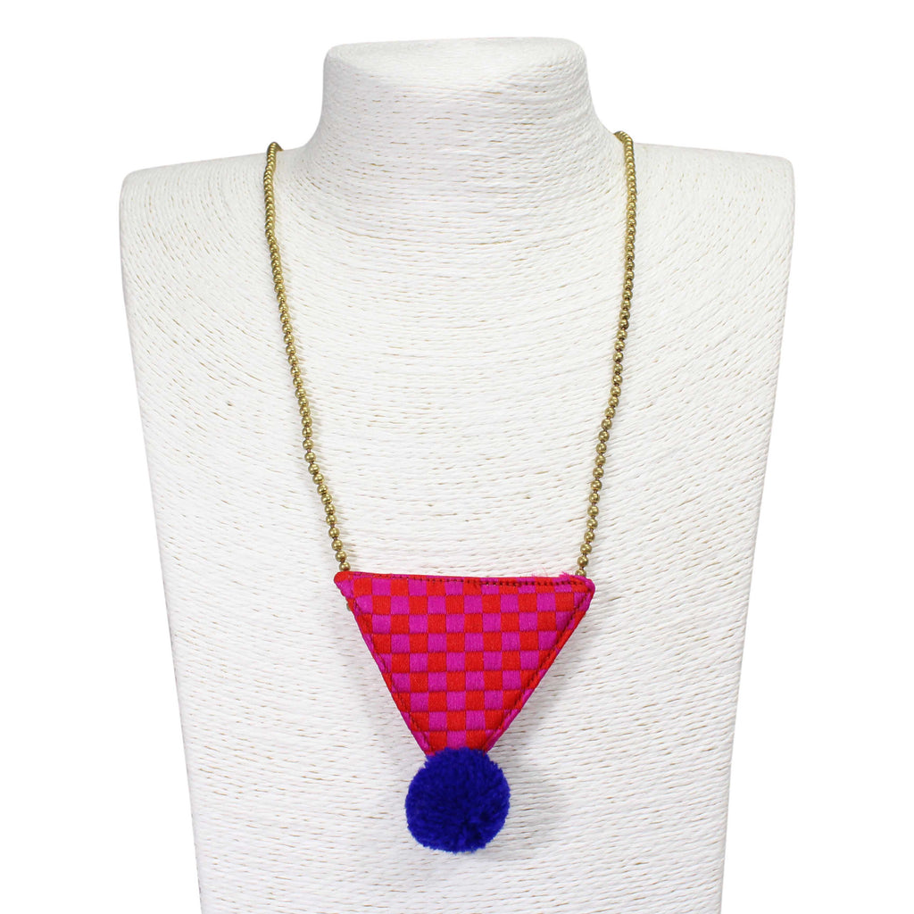 Hand Crafted Pink Tringle Necklace With Pom Pom