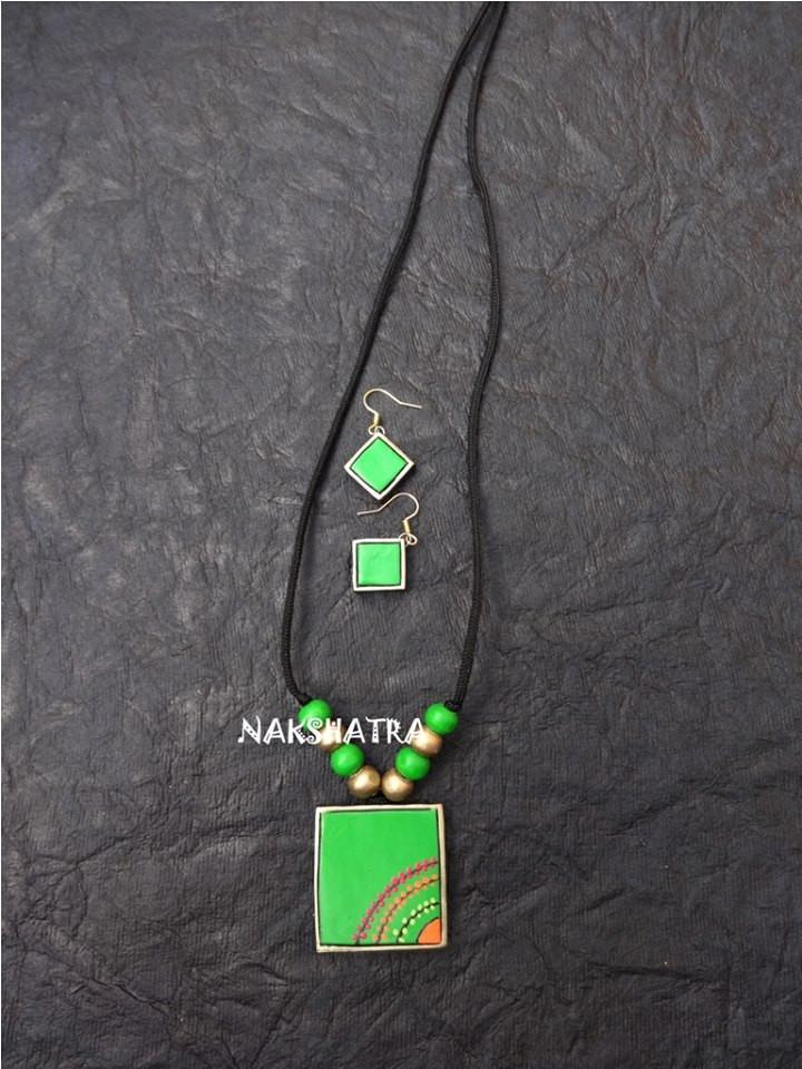 Green Color Terracotta Necklace Set