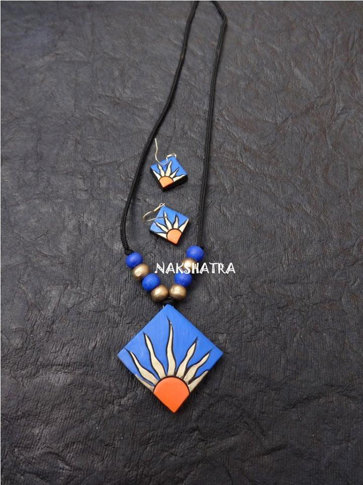 Blue And Orange Color Terracotta Necklace Set