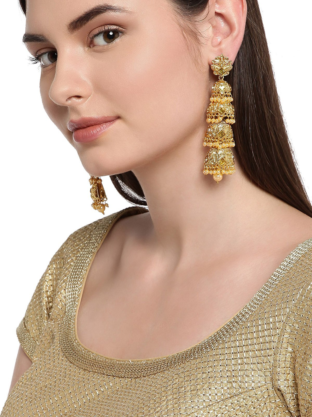 Gold Tone Multi Layered Traditional Dangler Earring