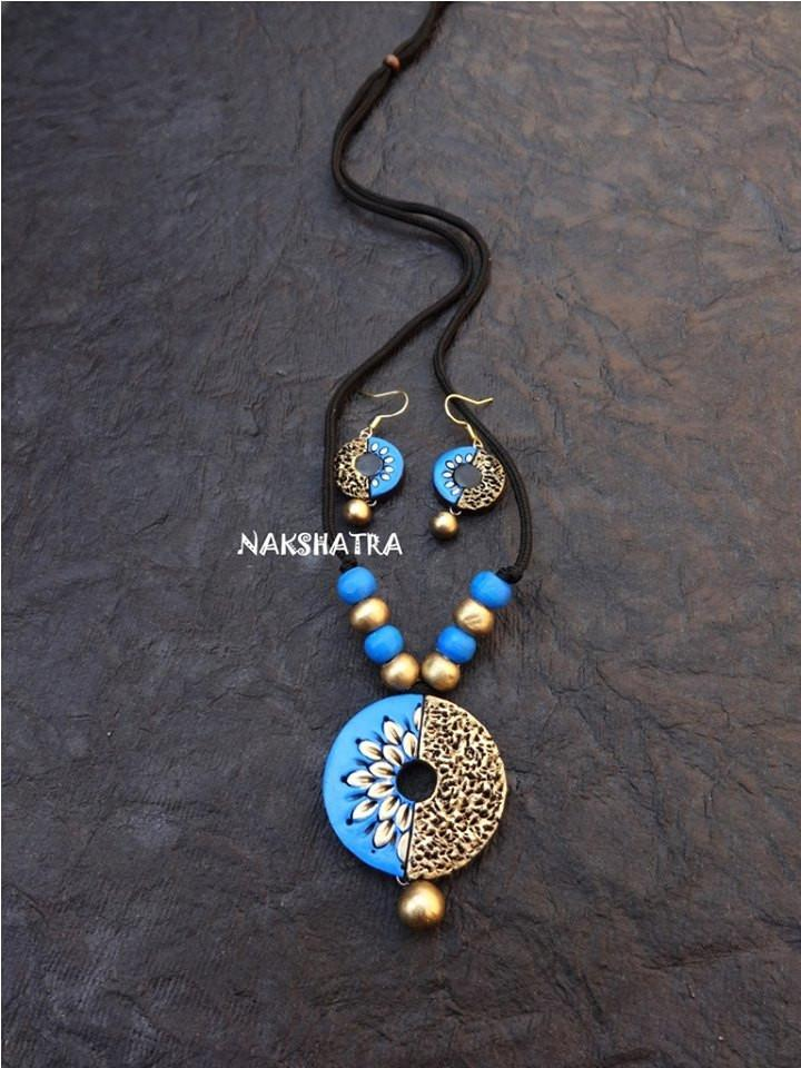 Blue And Gold Color Terracotta Necklace Set