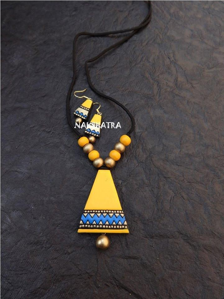 Yellow And Blue Color Terracotta Necklace Set
