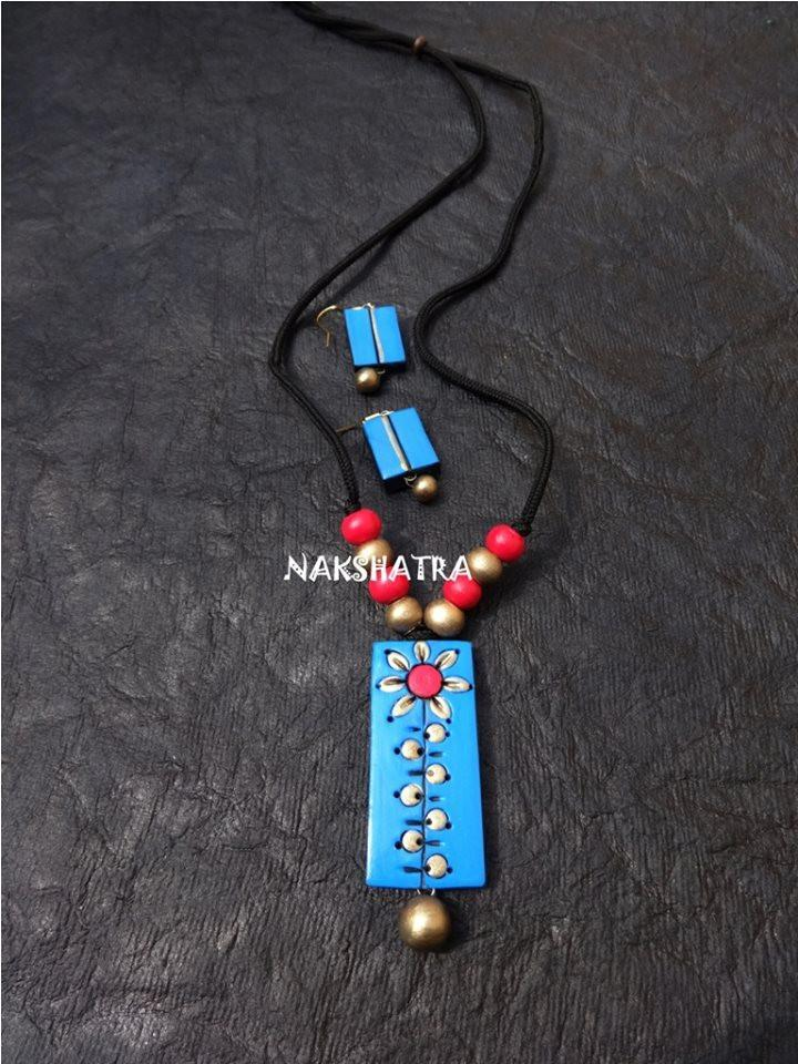 Light Blue And Gold Color Terracotta Necklace Set