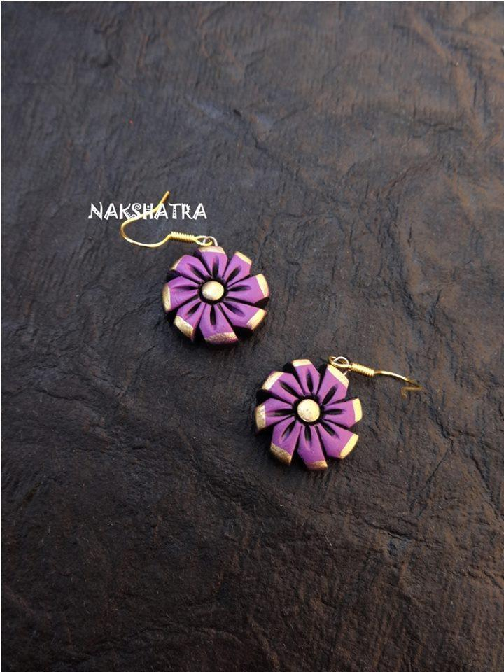 Purple And Gold Color Terracotta Stud Earring