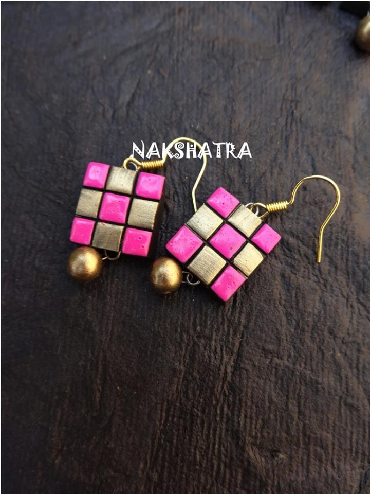 Pink And Gold Color Terracotta Stud Earring