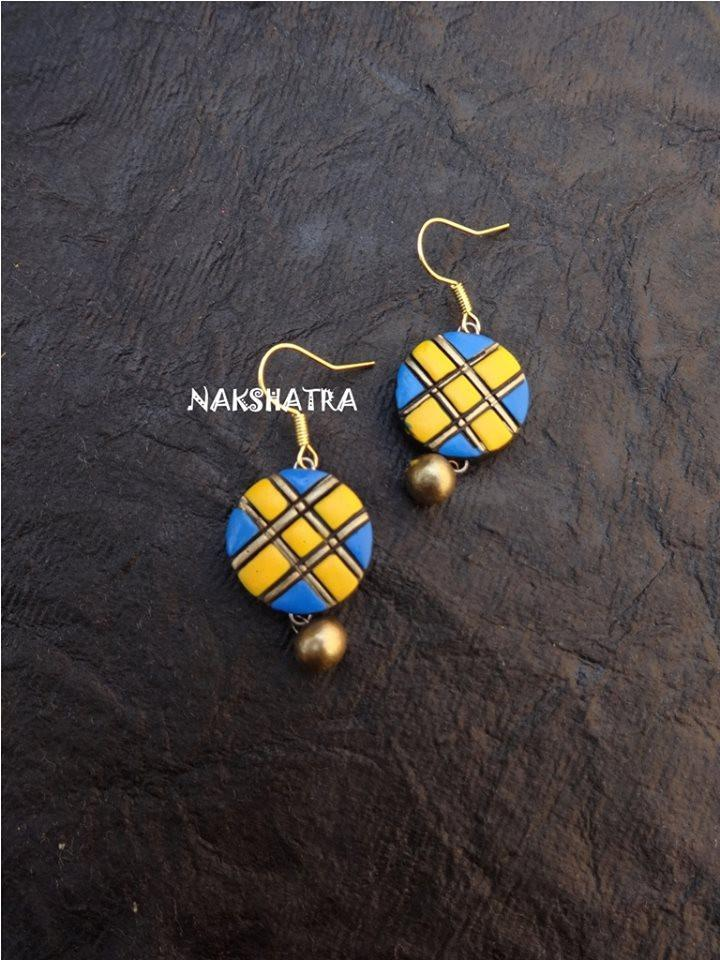 Blue And Yellow Color Terracotta Stud Earring