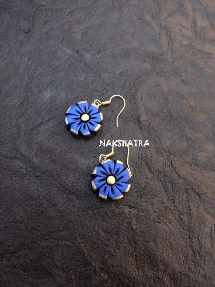 Blue Color Terracotta Stud Earring