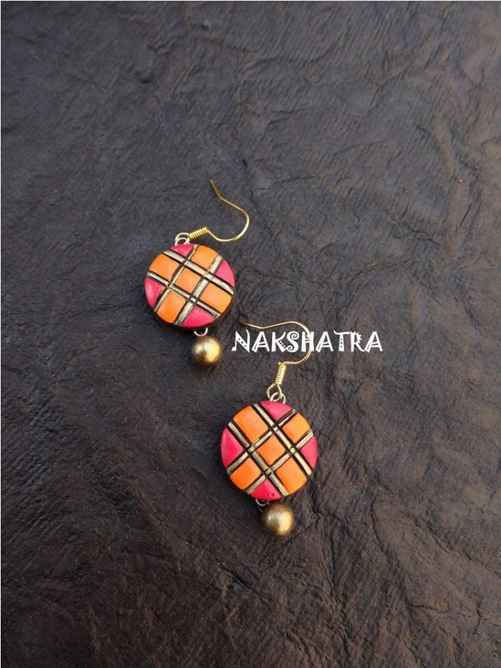 Orange And Red Color Terracotta Stud Earring