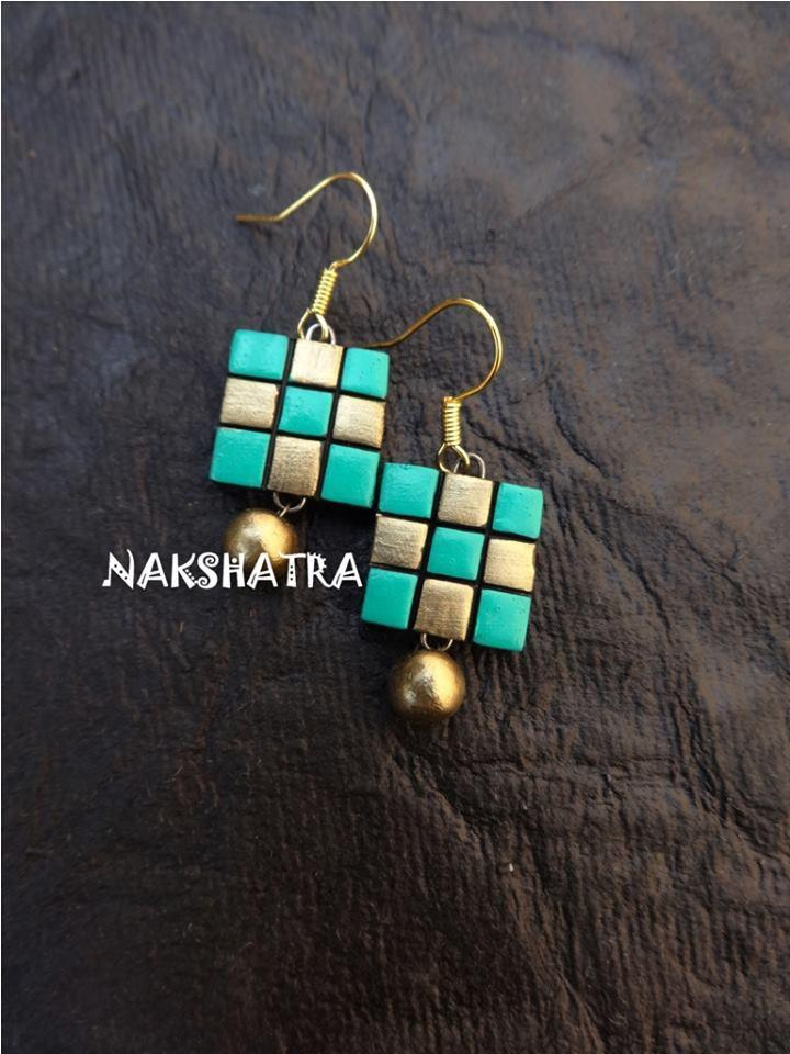 Green And Gold Color Terracotta Stud Earring
