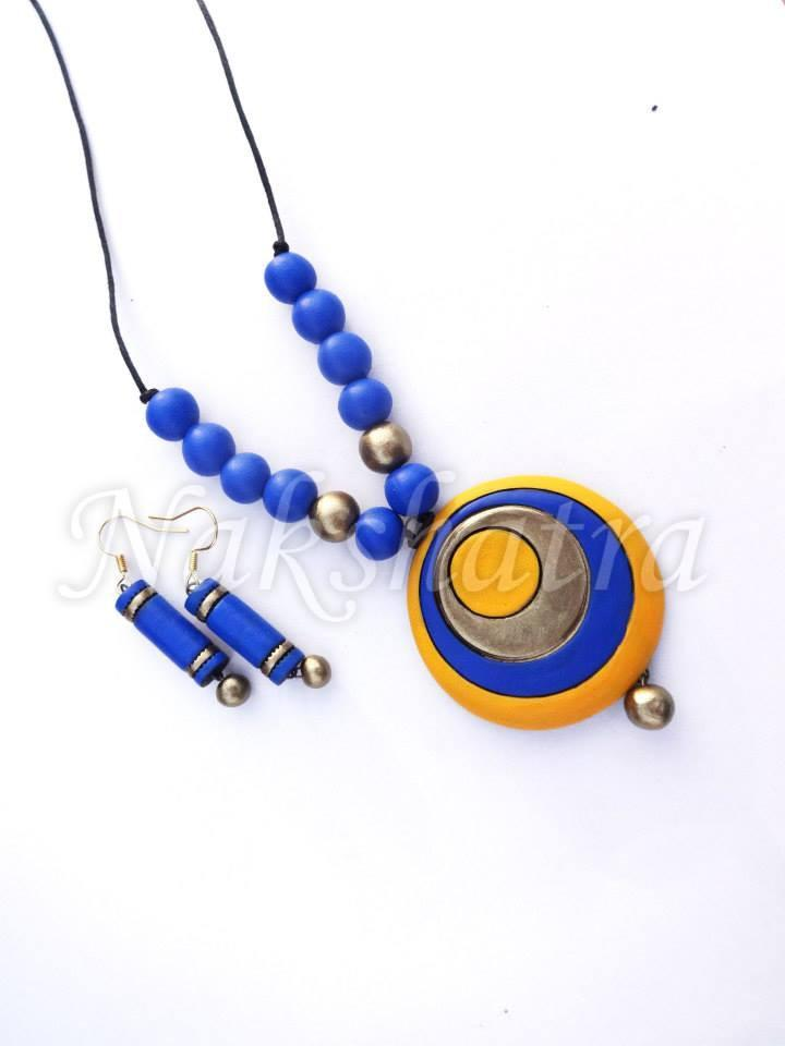 Blue And Yellow Colour Terracotta Necklace Set