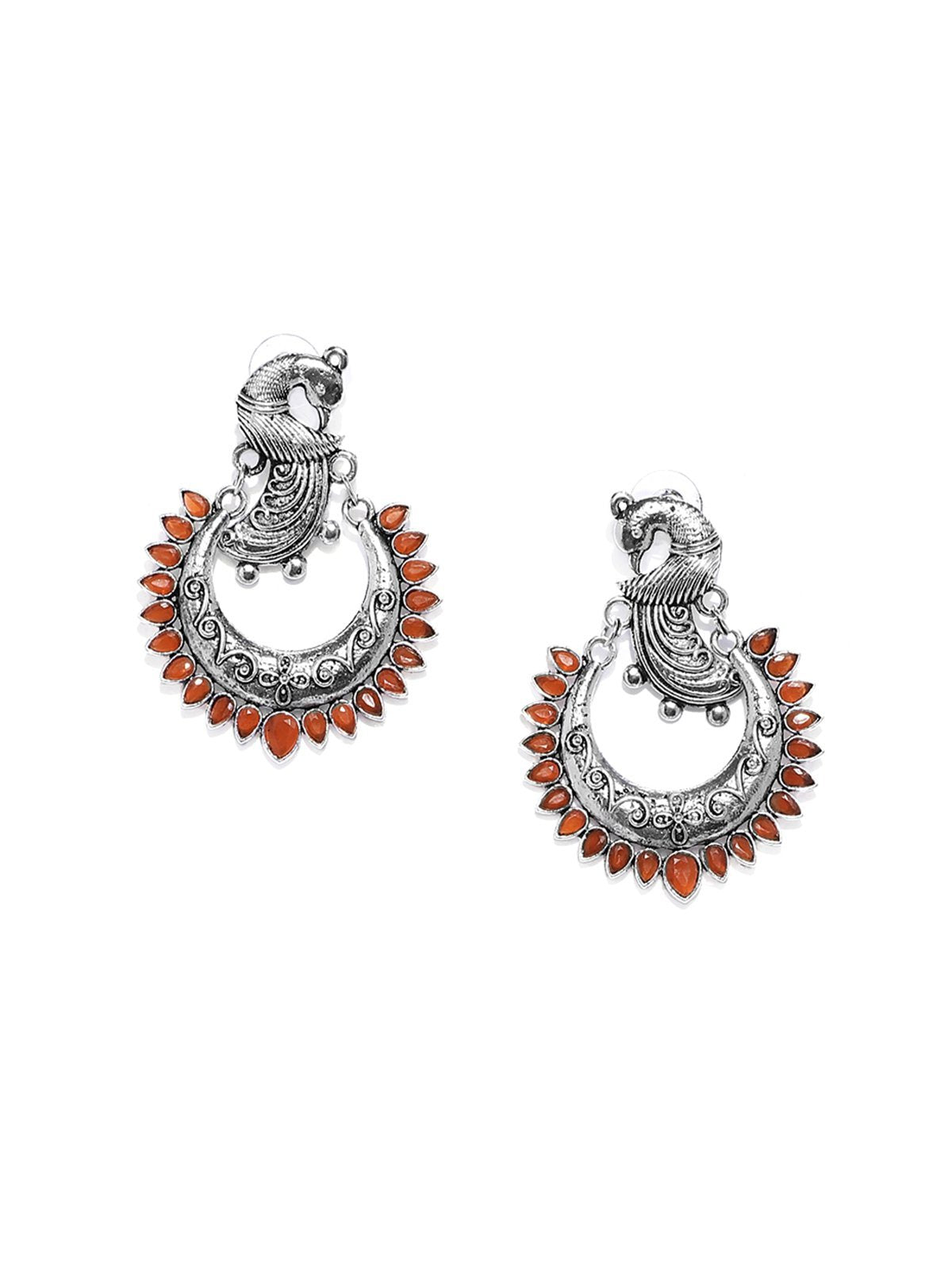 Antique Silver Tone Peacock Inspired Chandbali Earring
