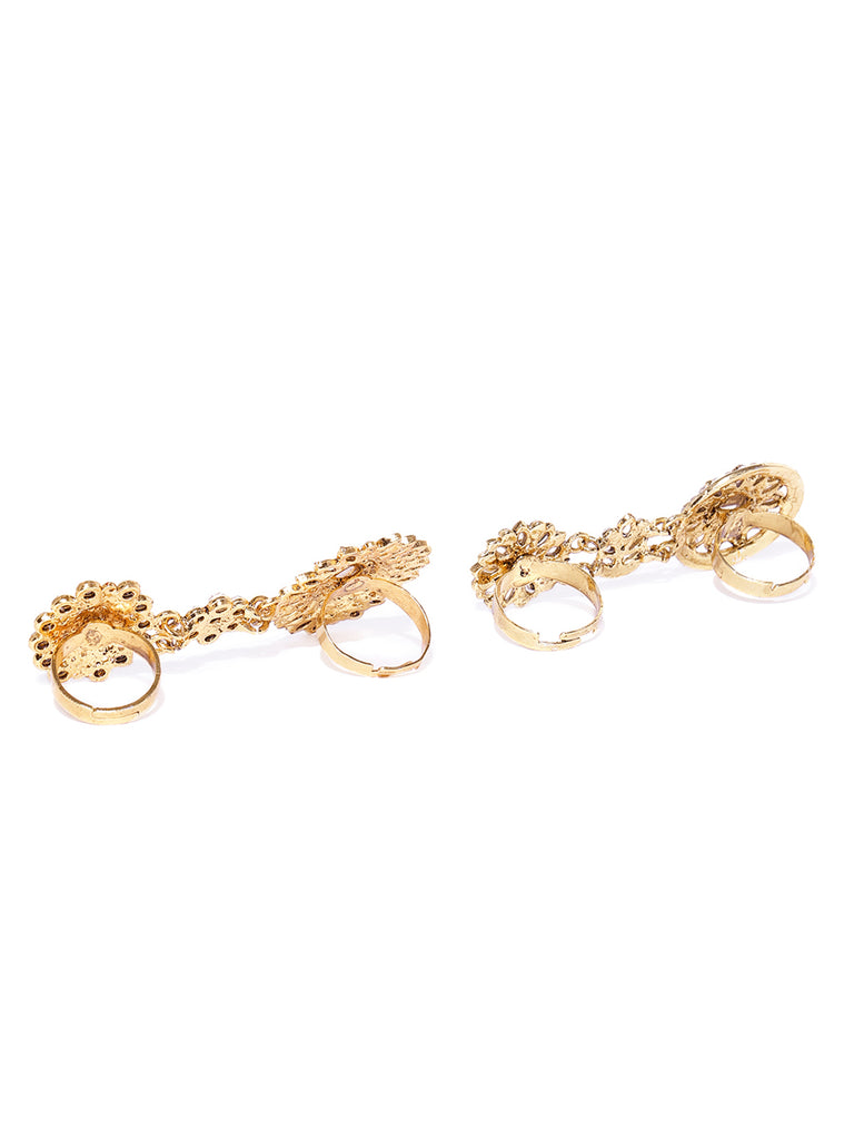 Zaveri Pearls Combo Of 2 Gold Tone Adjustable Dual Finger Ring-ZAVERI PEARLS-Combo