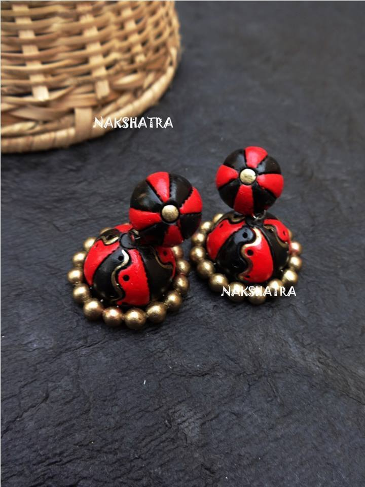 Handmade Terracotta Jhumkas Red And Black Color