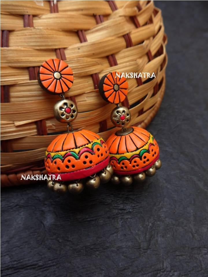 Handmade Terracotta Jhumkas Multicolor Color Stud Earring