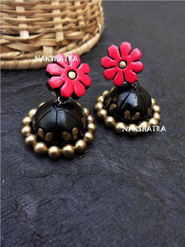 Handmade Terracotta Jhumkas Pink & Black Color Stud Earring