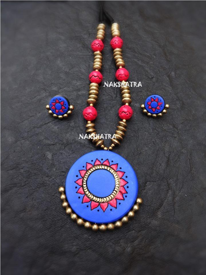 Blue, Pink And Antique Gold Color Combination Of Handmade Terracotta Necklace Set