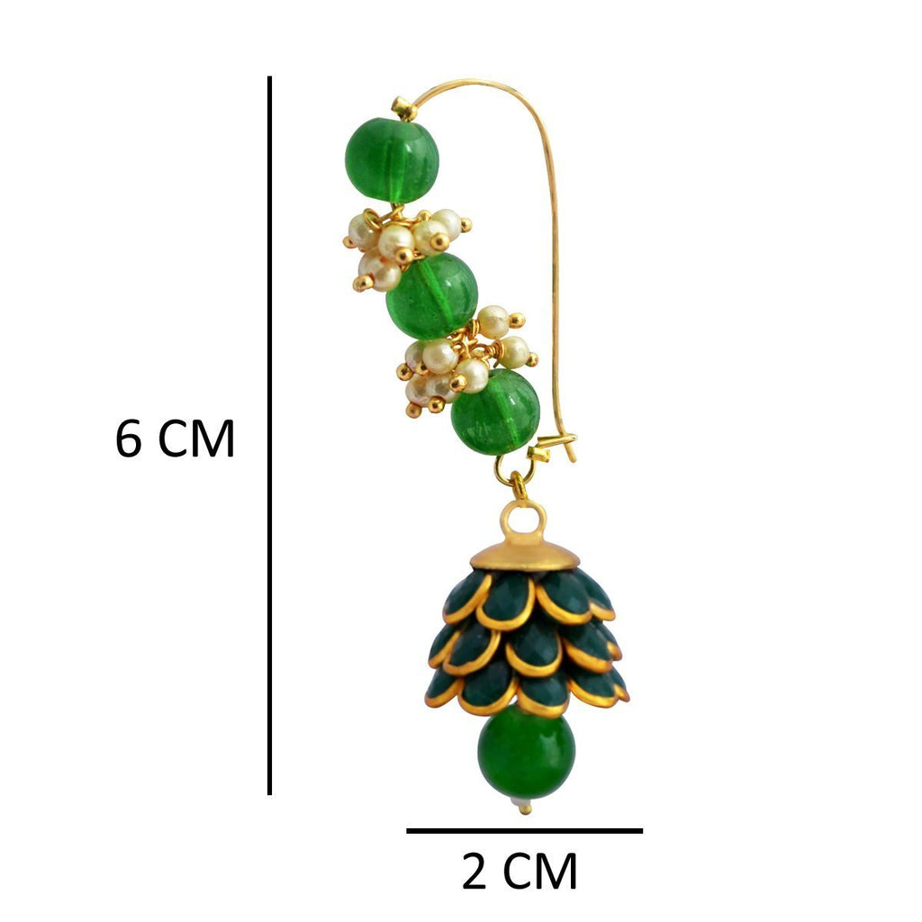 Dark Green Colour Ethnic Loop with Pacchi Dome Earring