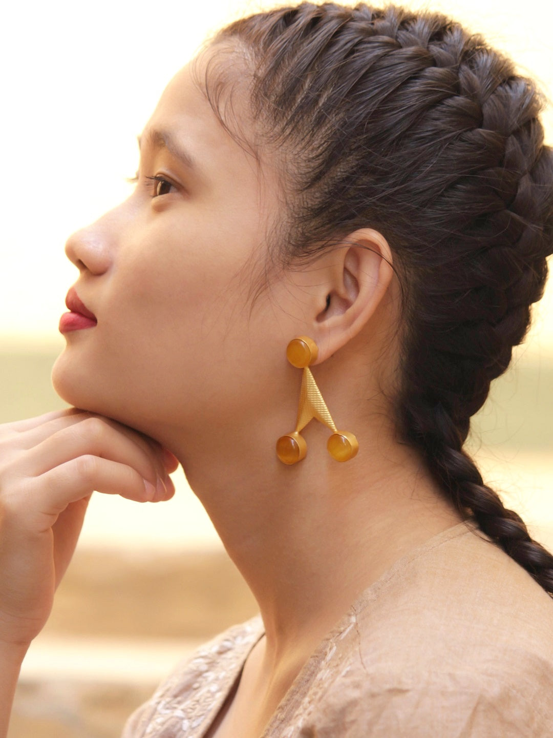Avismaya Gold Plated Arrow Design Orange Color Monalisa Stone Dangler Earring-AVISMAYA-Earring