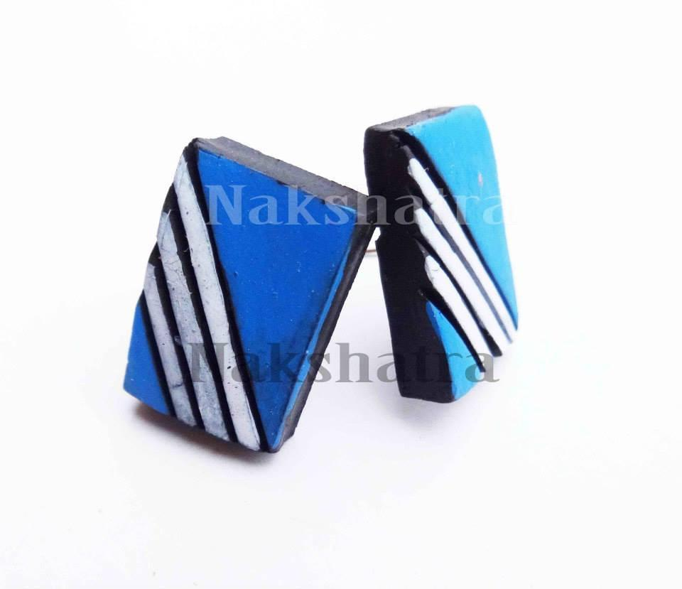 Blue & White Colour Terracotta Stud Earring