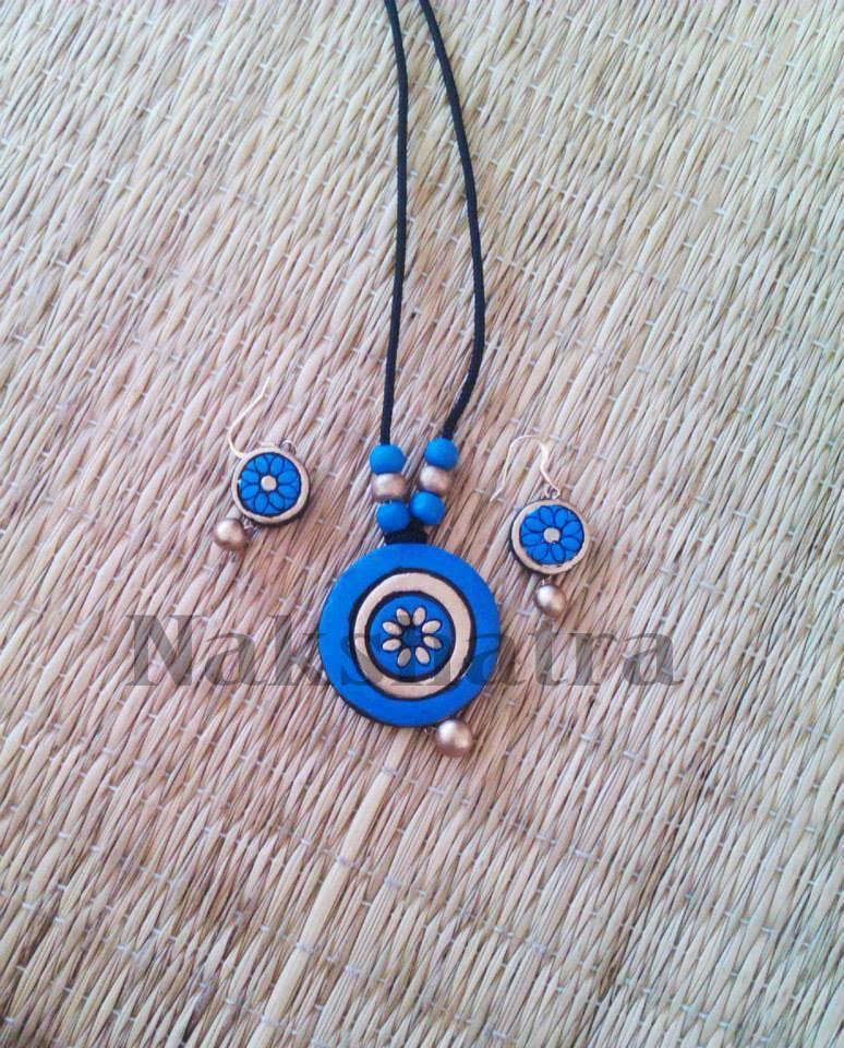 Blue Colour Terracotta Necklace Set
