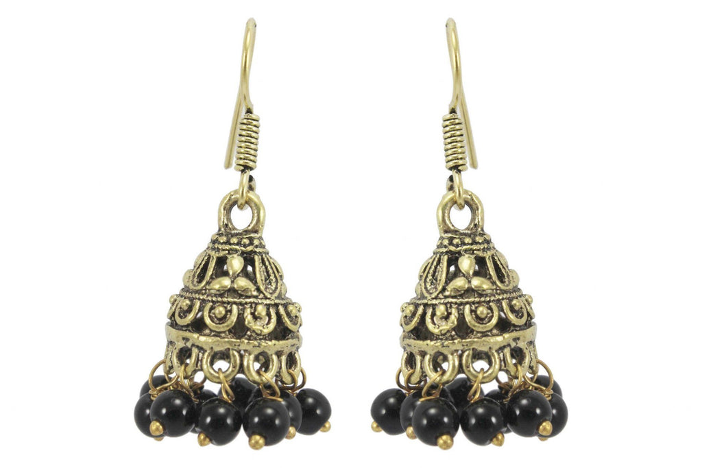 Gold Oxidised Metal Small Jhumka With Black Pearls For Casual Wear