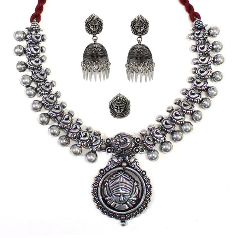 Oxidized German Silver Durgama Necklace Set With Nosepin