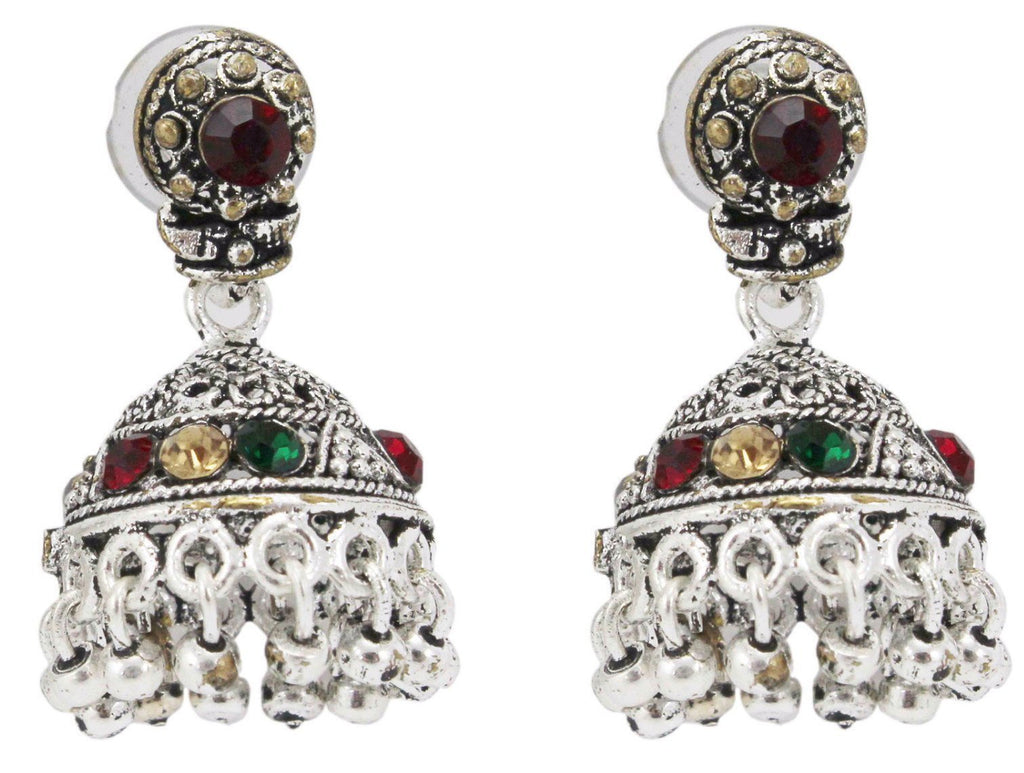 German Silver Oxidised Small Jhumka Earrings For Daily Wear