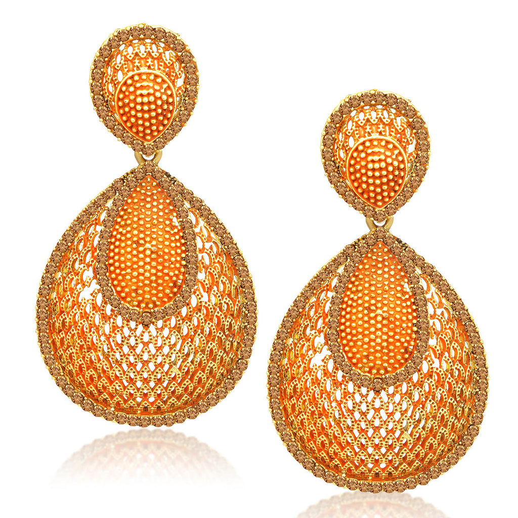 Sukkhi Awesome LCT Stone Gold Plated Orange Mint Meena Collection Dangle Earring For Women-SUKKHI1-Earring
