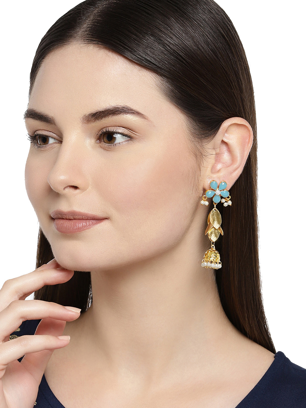Zaveri Pearls Fancy Look Floral Design Jhumki Earring