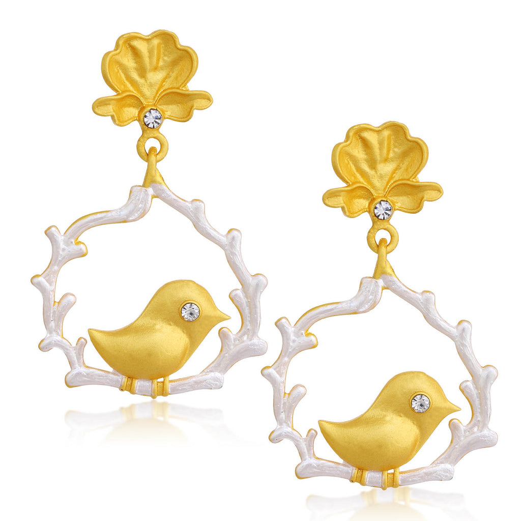 Sukkhi Classic Gold Plated Bird Dangle Earring For Women-SUKKHI1-Earring